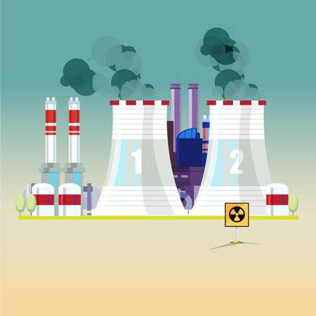 nuclear power: nuclear power plant - vector illustration