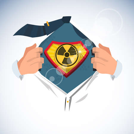 radioactive symbol: smart man open shirt to show  radioactive symbol  in superhero style - vector illustration