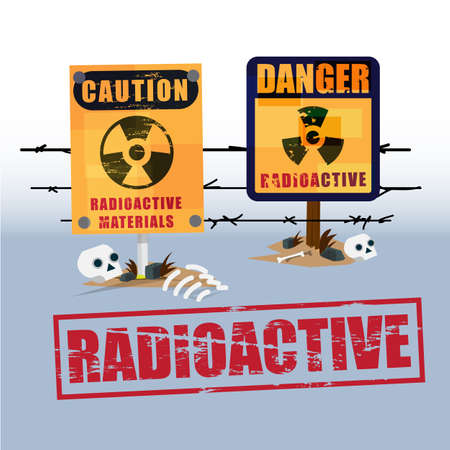 hazardous waste: radiation area warning sign with skeleton of dead - vector illustration Illustration