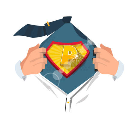 open shirt: man opening shirt to show alphabet P in superhero style. alphabet concept - vector illustration