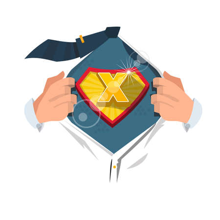 open shirt: man opening shirt to show alphabet X in superhero style. alphabet concept - vector illustration