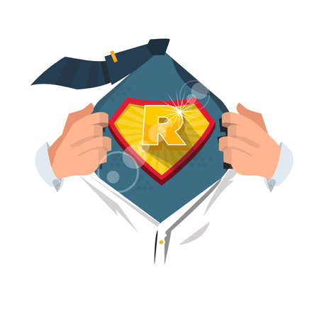 open shirt: man opening shirt to show alphabet R in superhero style. alphabet concept - vector illustration
