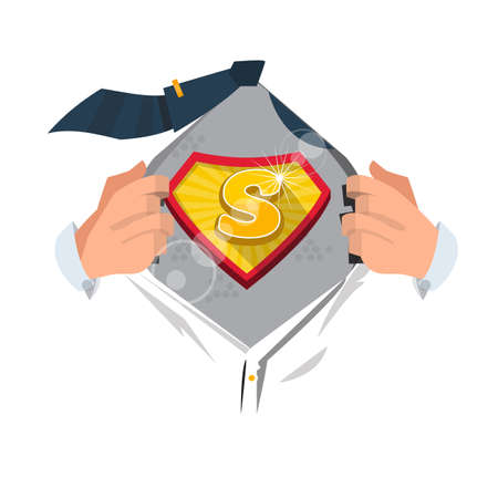 open shirt: man opening shirt to show alphabet S in superhero style. alphabet concept - vector illustration