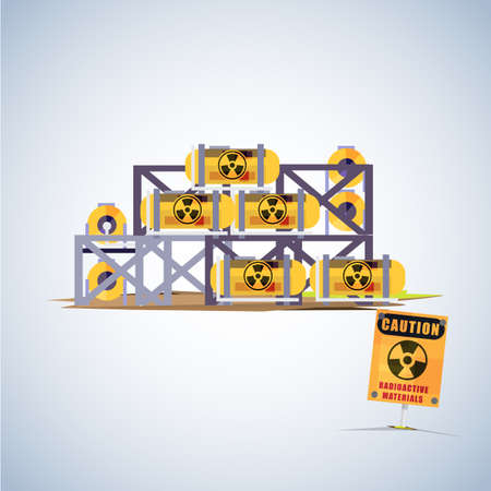 hazardous waste: barrel of radioactive waste with warning sign - vector illustration