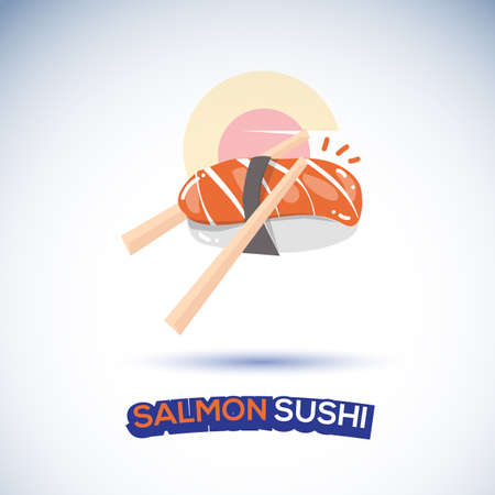 salmon sushi - vector illustration