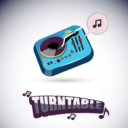 turntable: turntable with music letters - vector illustration