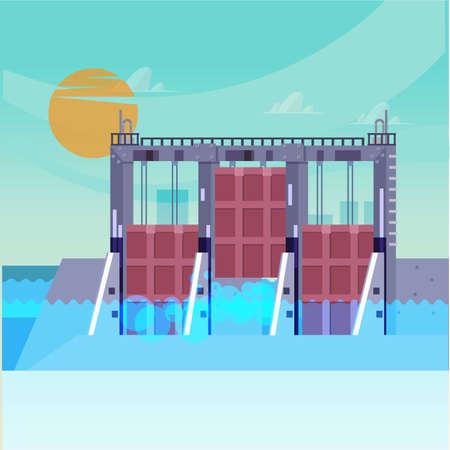sluice: watergate - vector illustration Illustration