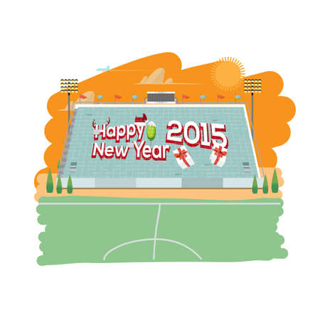 crowd happy people: sport card stunt with happy new year letters design - illustration Illustration