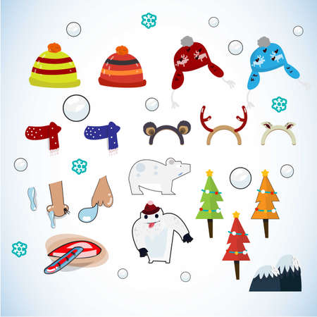 winter element. icon set . cold weather concept- vector illustration