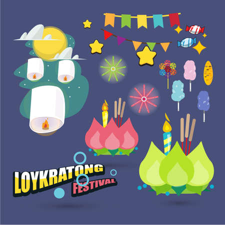 Loy Krathong festival set - vector illustration Illustration