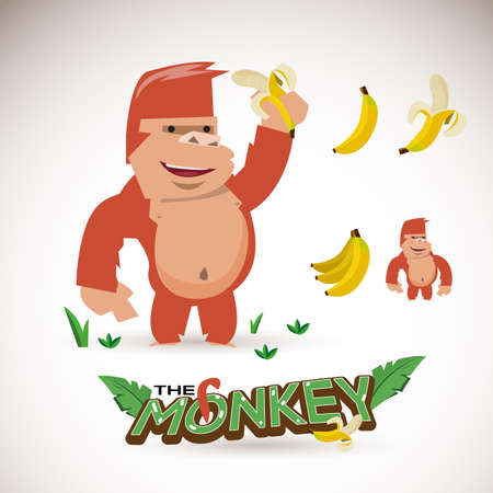 see no evil: monkey character with banana. letters design - vector illustration Illustration