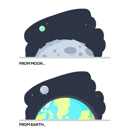 earth from space: view form moon to earth. earth to moon. space concept - vector illustration