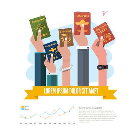 tarjeta visa: pasaporte con la mano. infografía - ilustración vectorial
