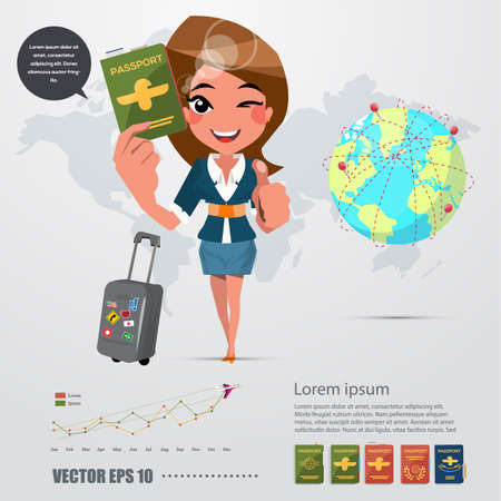 girl character with his passport. infographic icon - vector illustration