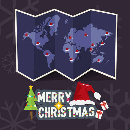 santa clause hat: world map with point of santa clause hat come with merry christmas letters design. christmas concept - vector illustration