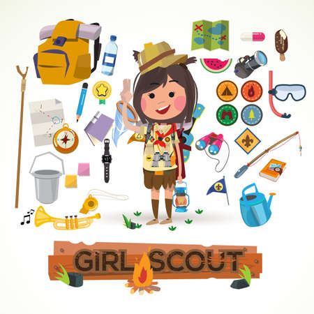 girl scout character with camping equipment. camping concept - vector illustration