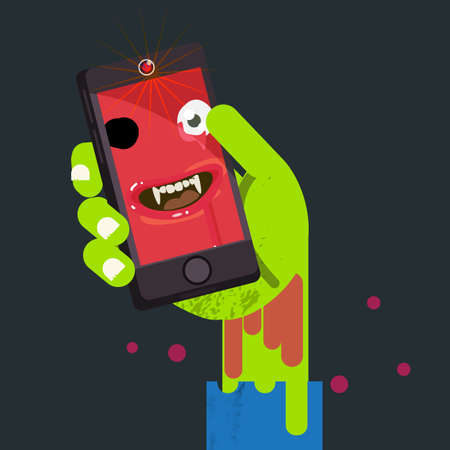 undead: face of undead people in zombie hand. selfie concept - vector illustration Illustration