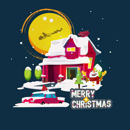 snow house: snow house with merry christmas text - vector illustration