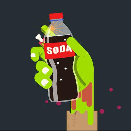 food poison: soda bottle in zombie hand. soda kill concept - vector illustration