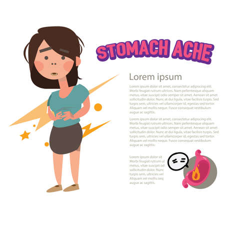colic: stomach ache character - vector illustration