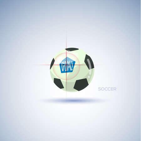 ball point: soccer ball with target point. goal concept - vector illustration