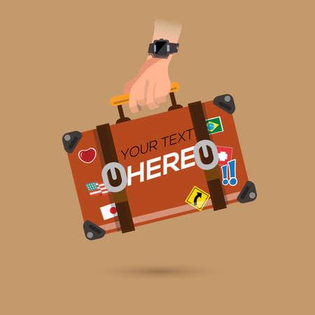 旅行バッグを手に。あなた自身のテキスト - ベクター グラフィックを配置します。