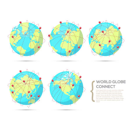 world flags: World globe connect in various positions of continent - vector illustration Illustration