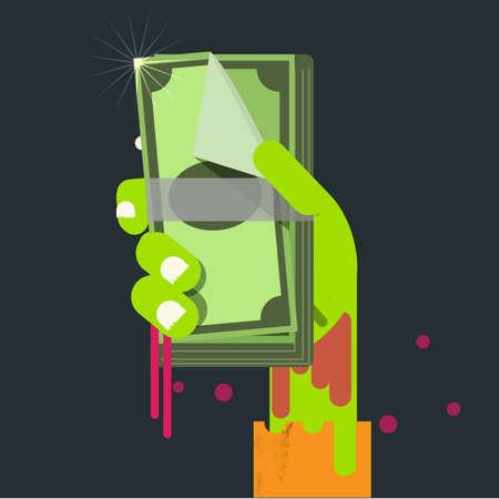ego�sta: billetes de banco en la mano del zombi. Ego�sta Concepto de dinero - ilustraci�n vectorial