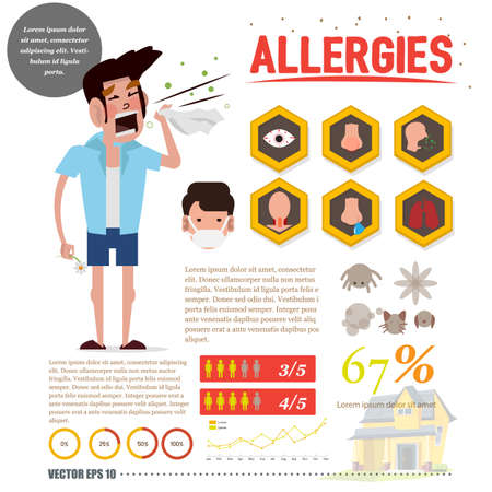 Allergy man with allergy icon set. infographic - vector illustration