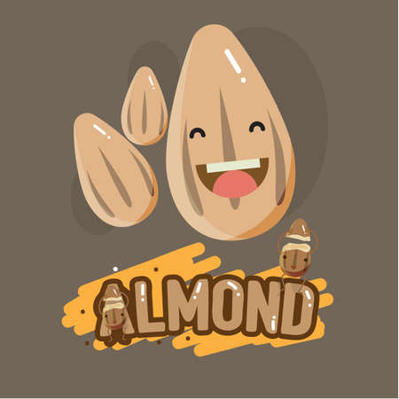 smily: smily almond character with letter design - vector illustraion