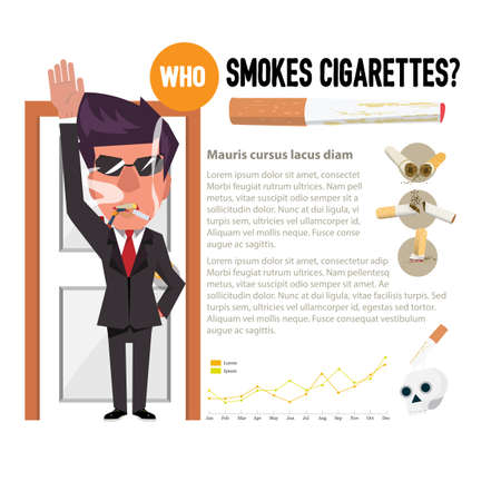 cigaret: man smoking in front of antismoking concept - vector illustration
