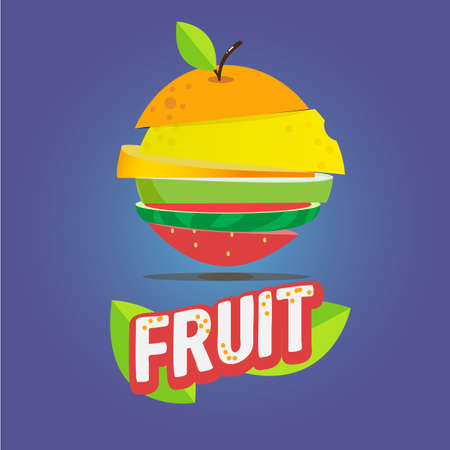 mixed fruit: Fresh cut fruits. mixed fruit concept - vector illustration