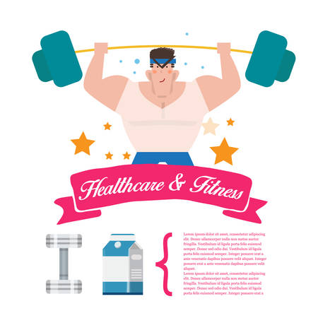 strongest: strongest man . fitness character. Healthy Exercise concept - vector illustration Illustration