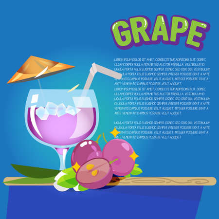 pomegranate juice: grape juice with letters design. cocktail concept - vector illustration Illustration