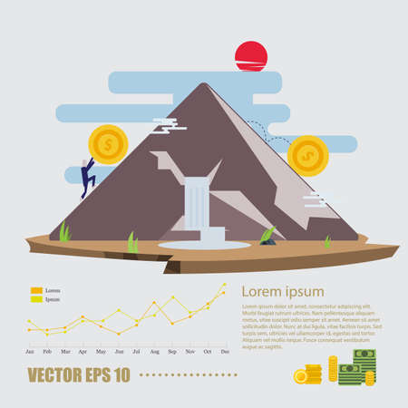 pushes: Human pushes a big coin to the top of mountain. Finance and money concept with infographic - vector illustration Illustration