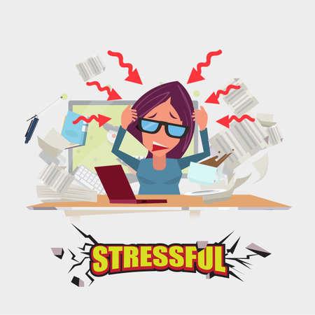 trabajando duro: las mujeres que trabajan duro. estresante concepto - ilustración vectorial