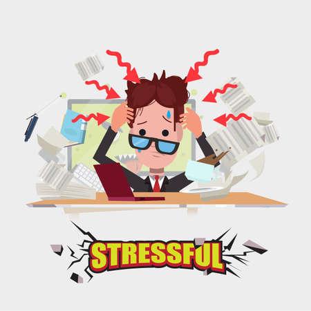 trabajando duro: hombre trabajador. estresante concepto - ilustración vectorial