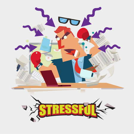 background person: stressful character with letters design - vector illustration