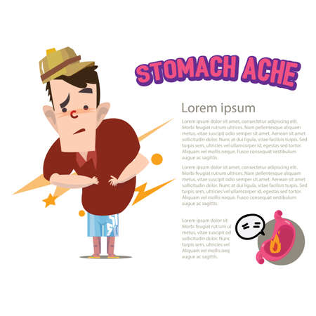 ache: stomach ache character - vector illustration