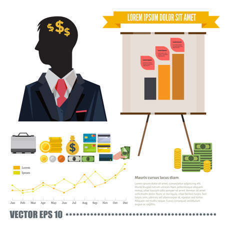 conceptual: business thinking with money infographic - vector illustration