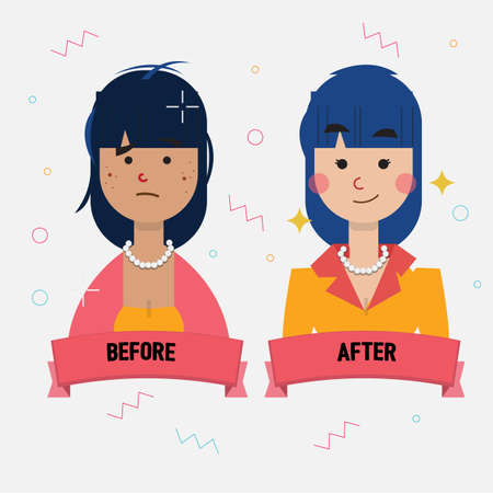 body damage: acne girl become pretty girl. beautiful concept. before and after - vector illustration