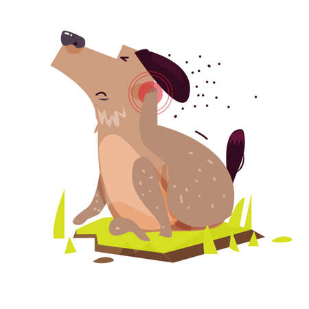 Dog scratching. Itchy Skin - vector illustration