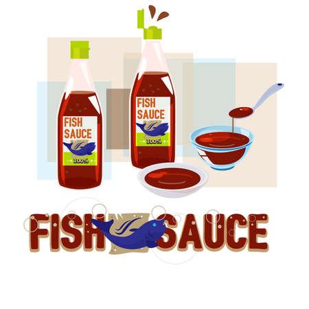 soy sauce: fish sauce - vector illustration