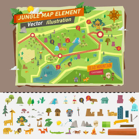 waterfall in forest: jungle map with graphic elements - vector illustration
