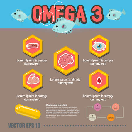 benefit of omega 3 - vector illustration