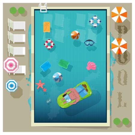 nadar: piscina en la vista superior con el elemento aire libre - ilustraci�n vectorial