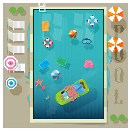 swimming: swimming pool in top view with outdoor element - vector illustration