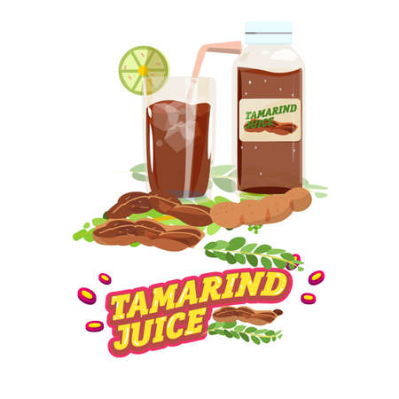 tamarindo: agua de tamarindo. jugo con diseño de letras - ilustración vectorial