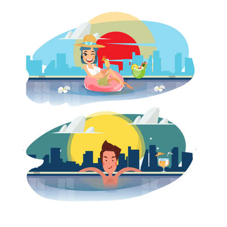 holiday villa: smart man and women relaxing in a swimming pool with a cocktail. sky pool with city background. luxury concept - vector illustration Illustration