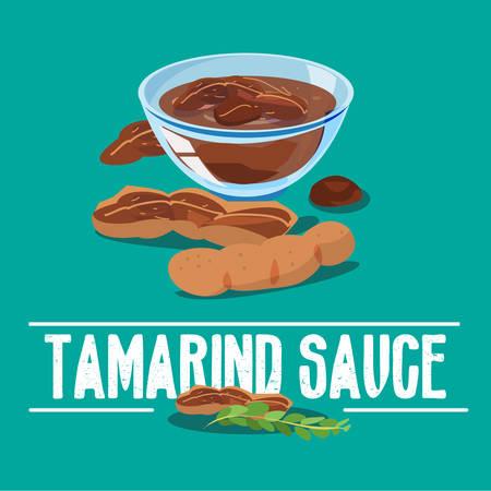 sauce: tamarind sauce - vector illustration Illustration